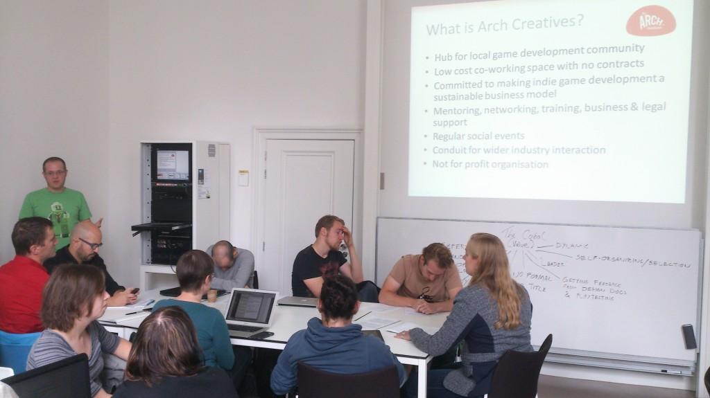Alex presenting on Arch Creatives small